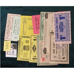 (15) Different One Cent Official Food Stamp Coupons.