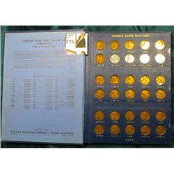 1941-62 Nearly complete Set of Lincoln Cents in a Whitman Coin album. Circulated.