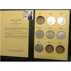 Partial Set of U.S. Peace Silver Dollars in a Library of Coins Album. Includes 1922 P, D, S, & 23 P,