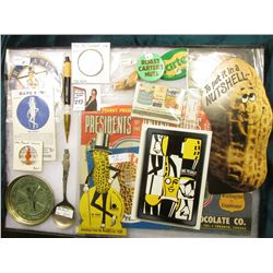 "12"" x 16"" Glass frame full of Mr. Peanut Collectables. Includes 1916-1976 One Ounce .999 Fine Silver"