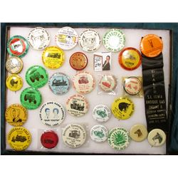 "12"" x 16"" Glass frame full of Souvenir Pin-backs dating back to 1959 or earlier. Cedar Valley Engine"
