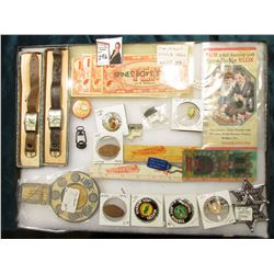 """12"""" x 16"""" Glass frame full of Collectables including Elongated Cents; Mattel Hot Wheels; Lee Riders"""