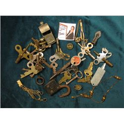 "Watch Chain with red set; large group of Keys including Clock Keys; Punch; small broken chain; & ""Al"