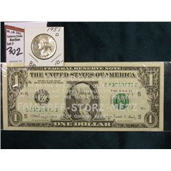 "Series 1988A One Dollar Federal Reserve Note in a sleeve stating ""This Dollar is on of the $4,000,00"