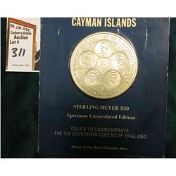 1975 Cayman Islands Sterling Silver $50 Specimen Uncirculated Edition Issued to Commemorate The Six