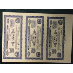"1933 Depression Scrip Un-cut Sheet of Proof Notes Fifty Cent ""The City of Pleasantville, New Jersey"""