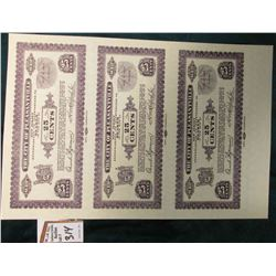 "1933 Depression Scrip Un-cut Sheet of Proof Notes Twenty-Five Cent ""The City of Pleasantville, New J"