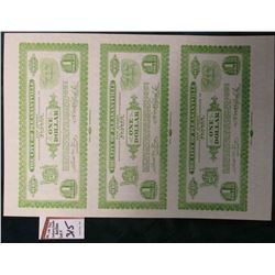"1933 Depression Scrip Un-cut Sheet of Proof Notes One Dollar ""The City of Pleasantville, New Jersey"""