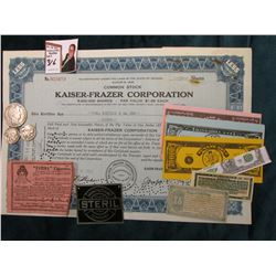 "Common Stock Certificate for ""Kaiser-Frazer Corporation""; (6) Fantasy notes; Metal Advertising tag """
