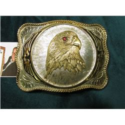 1/26/1953 dated Silver Belt Buckle with Eagle Design (red stone in eye). GP/SP/ Nobel, Okla.