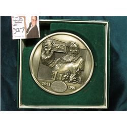 "Original boxed ""1931 60/Years with Santa/ Coca-Cola/1991"" Pewter Medal, 525 of 9500. ""Solid Fine Pew"