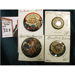 "(4) Different ""Buster Brown Shoes"" and Tiger Pin-backs."
