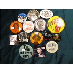 (14) Old Band or Movie Pin-Backs, includes: Andy Gibb, The Band, Aerosmith, Savatage, Michael Jackso