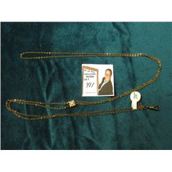 "Ladies Gold-filled 50"" Sliding Watch Chain with Opal and Seed Pearl Sets for a Pocket Watch."
