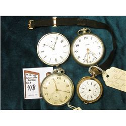 Waltham Pocket Watch, no lid, cloth strap, 7 Jewel;  Omega Open face Pocket watch (no second hand an