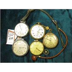 Ultra Open Face 12 size Pocket Watch, 7 jewels, parts only; Watch Key; Button Leather Watch Chain; N