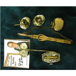 Watch Collectors Gems: Tie Clip with Watch movement; Broach with Watch Movement; Stick Pin with Watc