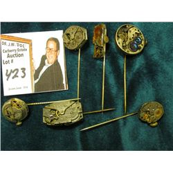 Watch Collectors Gems: (6) Different Stick Pins with Watch Movement heads.
