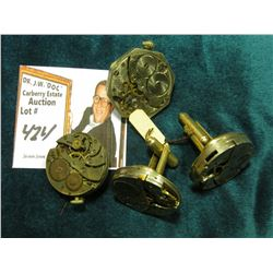 Watch Collectors Gems: Pair of Cuff Links with Watch Movement heads; Broach with watch movement head
