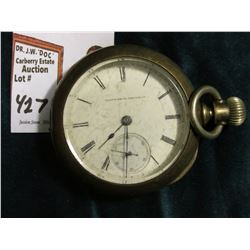 Elgin National Watch Company Open Face Pocket Watch in Silver case. Seems to run. Size 18???