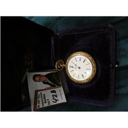 Addison Open Face Pocket Watch with heavily engraved floral design Gold-filled case. I can't seem to