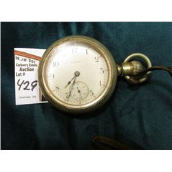 Elgin Large Men's Size 18??? Pocket Watch in a Silver Case. Open faced. Lever set. Appears to be wou