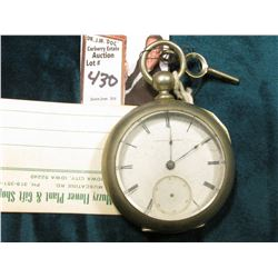 "Men's Key Wind ""National Watch Company"" Pocket Watch in open faced silver case. Missing the second h"