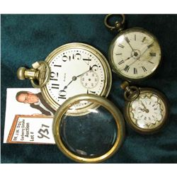 Elgin Open faced Silver cased Pocket Watch, front cover off, no second hand, cracked crystal; small