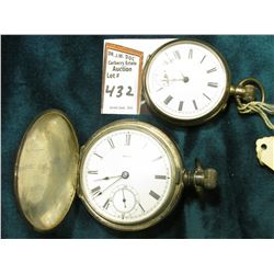 Open face Pocket watch with gold trimmed Silver case, not working; A.W. Co. Hunting Case Pocket Watc