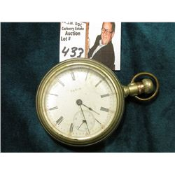Large Silver Open face Elgin Pocket Watch, Lever set. Appears to be running at this time.