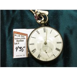 """607"" Key Wind Pocket Watch in a hallmarked Silver Open face case. Key comes with it. Not running."