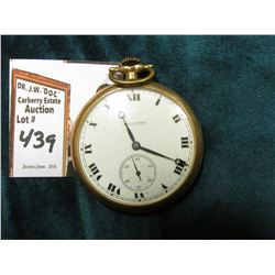 Hallmark Open Face Pocket Watch, gold-filled case guaranteed 20 years.  Runs, but time won't set.