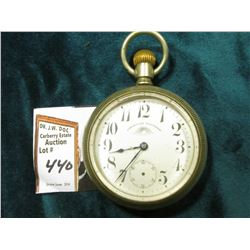American Walthan Watch Co. Open face Pocket Watch. 15 jewels. No second hand, Silver colored case. D