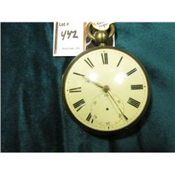 1830 German Keywind Pocket Watch. No second hand, Silver case. No key. I don't have a key so have no