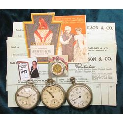 "(23) 1922 era Invoices from Henry Paulson & Co. Watch Jeweler; (2) ""The Waterbury"" watch advertiseme"
