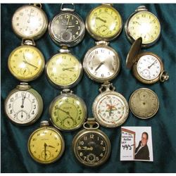 Elgin National Watch Co. Movement; & (12) old Klunker Pocket Watches in non running condition.