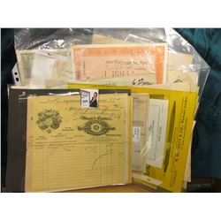 Large group of old Watch Company Invoices & Stock Certificates.