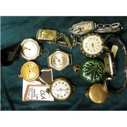 Fancy Jeweled Pocket watch in Silver case, missing a hand, and not running; small enameled Pocket Wa