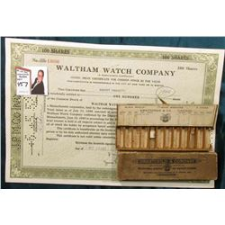 """Swartchild & Company Watchmakers' Jewelers…"" Box with a couple of glass vials; & a cancelled 100 Sh"