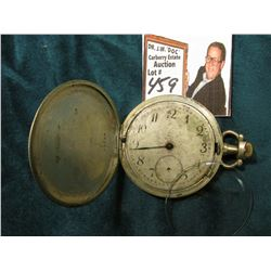 .800 fine Silver Watch case with movement and Crystal, Needs face, and hands, note said it ran, but
