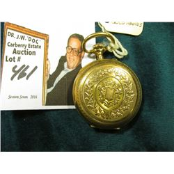 Ladies Closed Face Pocket Watch with Gold hands. Case has a Fox hallmark and I believe it is Gold as