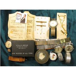 "Group of old Wristwatches, Watch Chain parts, & etc. Includes a ""Micky Mouse"" Wrist watch head in ru"