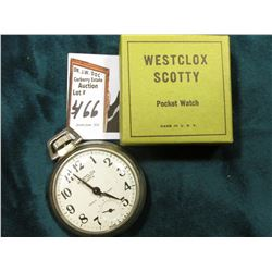 """Westclox Scotty"" Pocket Watch in original box ""Made in U.S.A.""."