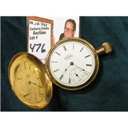 "Elgin Watch Co. Hunting Case Watch. Case is marked ""Warranted 14K U.S. Assay"", heavily engraved. No"