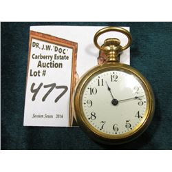 "Small unmarked Ladies Open faced Pocket Watch. Inside of case marked ""This Case 10K gold-filled Guar"