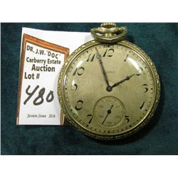 Elgin National Watch Co. Silver colored Pocket Watch. Runs.