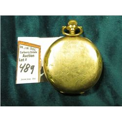 """Elgin"" Hunting Case Pocket Watch. 15 Jewels. Guaranteed 20 Years gold-filled case. No crystal."