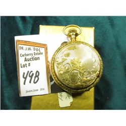 "Small Ladies size Hunting Case Pocket Watch ""Elgin Watch Co."", highly engraved case. No crystal, run"