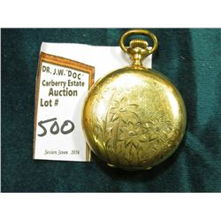 "Small Ladies size Hunting Case Pocket Watch ""Elgin Watch Co."", very colorful dial, floral & engraved"