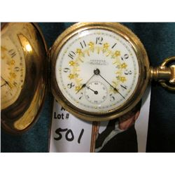 """American Waltham"" Pocket Watch with hunting case and very fancy dial, engraved ""Mae Nason"", runs, h"